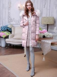 三彩女装粉色羽绒服