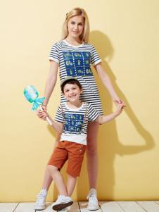 上流家族亲子装条纹长款T恤
