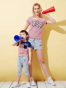 上流家族亲子装红色条纹T恤