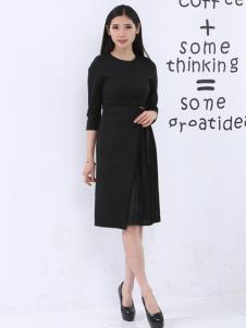 尚可斯女装尚可斯2017春夏新品黑色收腰裙