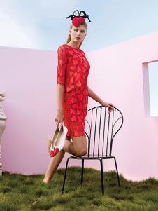 璱妠女装红色蕾丝裙
