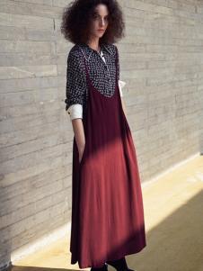 JUMEL芮玛2017春夏新品酒红色吊带裙