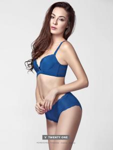 V21快时尚内衣2017春季新款深蓝色文胸