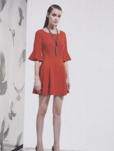 阿莱贝琳女装2017年红色修身连衣裙