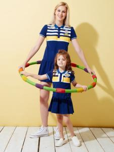 上流家族亲子装运动裙