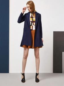 尚艾诗3s女装宝蓝色外套