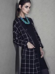 圣媛女装格纹长外套