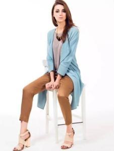 圣媛女装蓝色开衫外套