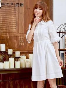 尚州2017春夏新品白色连衣裙
