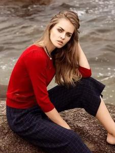 SANFLAG圣旗女装红色针织套头衫