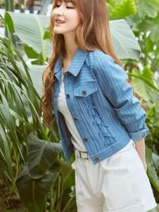 尚州2017春夏新品条纹牛仔短外套