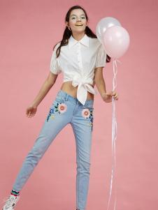 淑女屋2017春夏新品露脐白衬衫