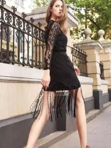 淑女心情女装黑色蕾丝裙