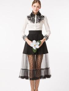 淑女屋2017春夏新品黑色两层纱裙