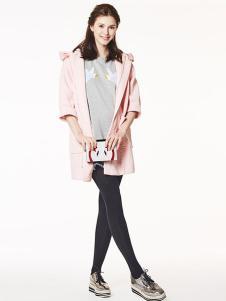 十月妈咪2017春夏新品粉色外套