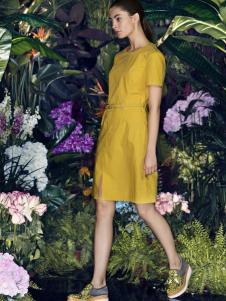 太和女装2017春夏新品姜黄色连衣裙