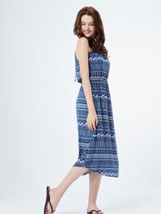 熳洁儿长款蓝色连衣裙 款号281647