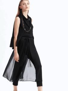 sofeya女装2017春夏新品黑色套装