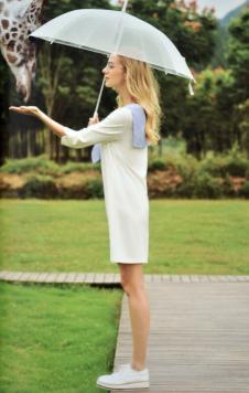 金蝶茜妮女装2017白色连衣裙