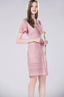 鑫美2017春夏新品粉色蕾丝裙