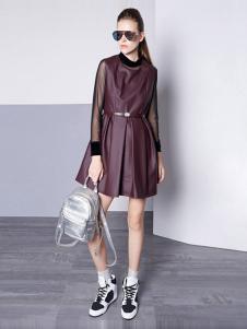 TOUCH塔吉女装酒红色连衣裙