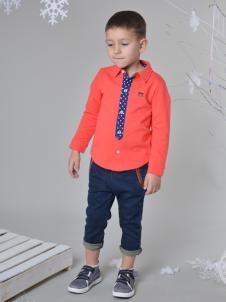 蓝角兽男童橙红色衬衫