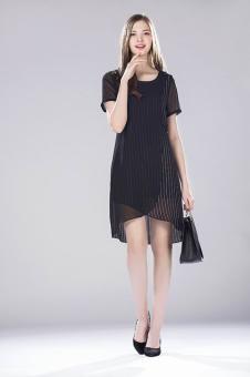 鑫美女装2017春夏新品黑色纱裙