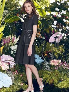 太和女装2017春夏新品黑色收腰连衣裙
