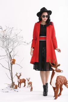 可媚2017红色大衣