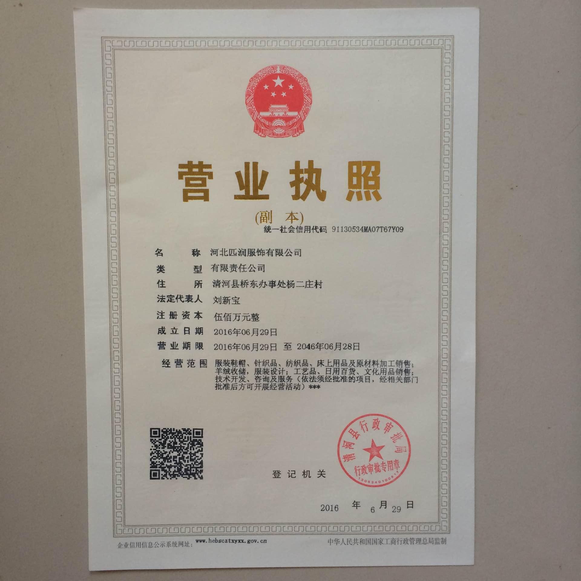 河北匹润服饰有限公司企业档案
