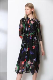 MIE FASHION美亚美2017春夏新款繁花衬衣连衣裙
