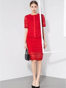 voeyea婉亦女装红色套裙