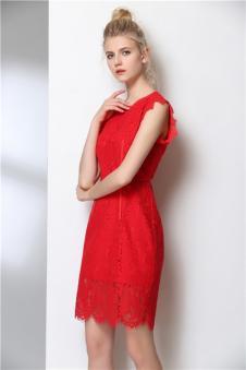 MIE FASHION美亚美2017春夏新款蕾丝修身连衣裙