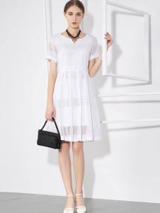 voeyea婉亦女装白色连衣裙