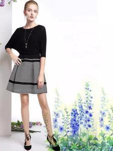 特儿迪雅2017春夏新品黑色条纹裙