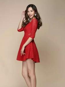 唯美印象女装新品红色蕾丝裙
