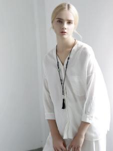 迪斯廷凯白色时尚衬衫新款