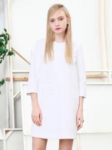 VIEWEVER维伊2017春夏新品白色连衣裙