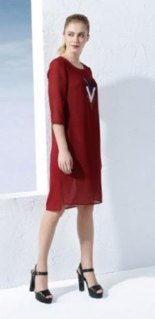 2017黛琦新品酒红色雪纺裙