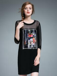 Vmenteel维曼缇女装黑色连衣裙