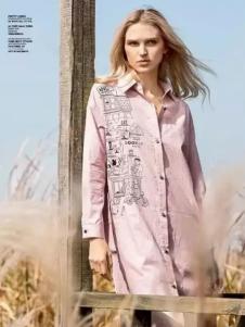 VEACOOL韦珂2017春夏新品粉色长衬衫
