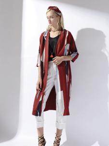 迪斯廷凯花色时尚长款外套