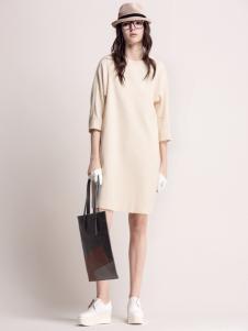 MYSCISSORS希色2017春夏新品米色连衣裙