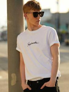 唐束男装夏季新款白色T恤