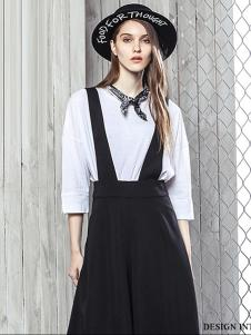 西子印象2017春夏新品黑色背带裙