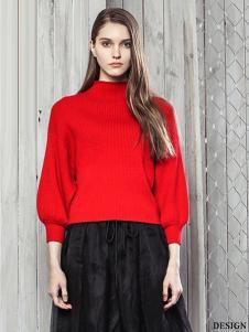 西子印象2017春夏新品红色毛衣