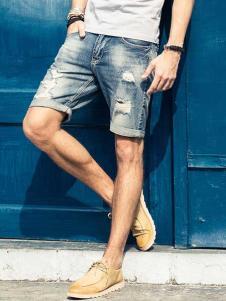 唐束男装夏季新款牛仔短裤