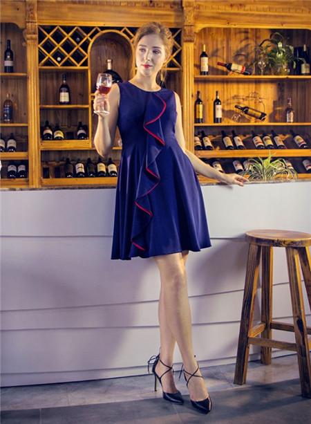 图案女装2017年春夏新品蓝色连衣裙