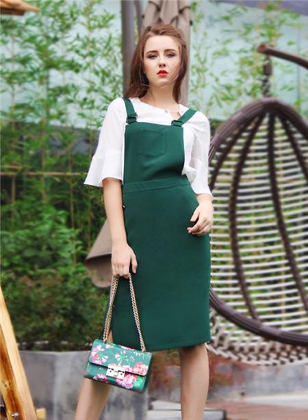 图案女装2017年春夏新品墨绿吊带裙