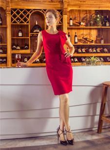 图案女装2017年春夏新品红色连衣裙